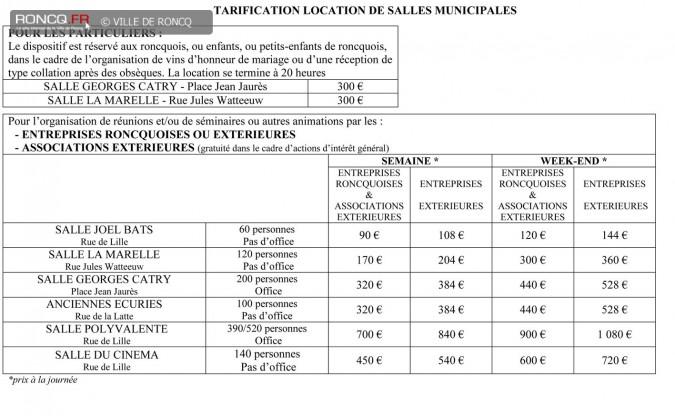 2019 - tarifications municipales